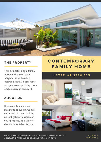 Black and Yellow Contemporary Home Real Estate Flyer - Templates - contemporary flyer