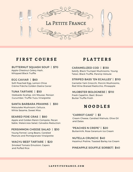 Pastel Pink Flourish French Menu - Templates by Canva