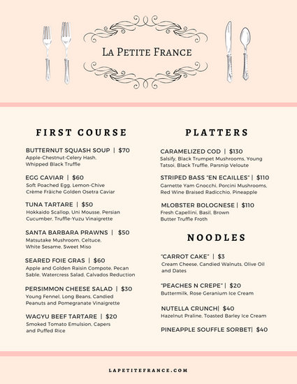 french cafe menu template - Romeselphee
