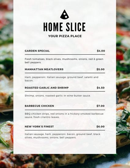 Customize 147+ Pizza Menu templates online - Canva - menu