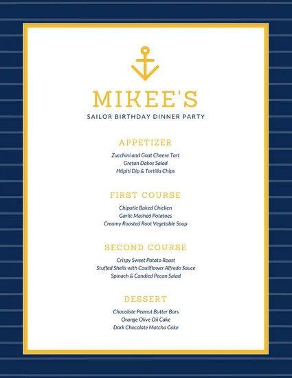 formal menu template