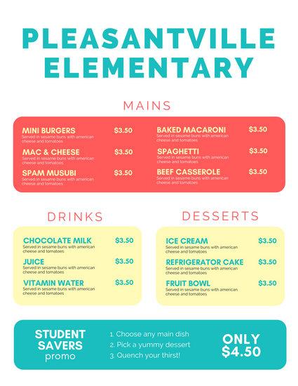 Colorful Pen Illustration School Menu Design - Templates by Canva - menu design template