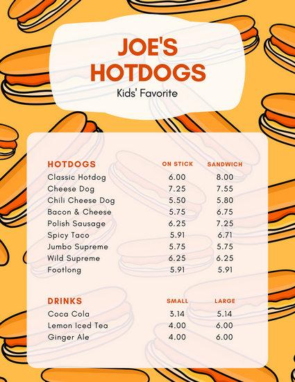 Yellow Orange Patterned Hotdog Kids Menu - Templates by Canva