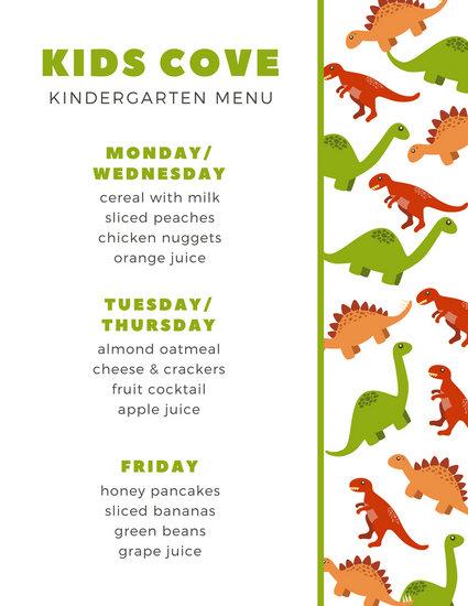 Vector Dinosaurs Kids Menu - Templates by Canva - kids menu templates