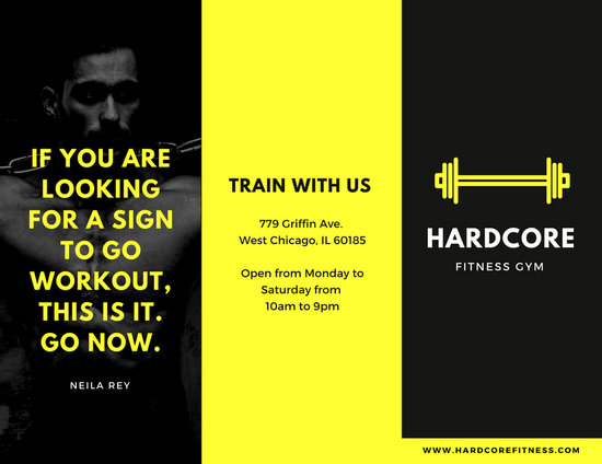 Black and Yellow Fitness Trifold Brochure - Templates by Canva