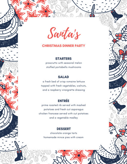 Blue Orange Holiday Illustration Dinner Party Menu - Templates by - dinner party menu template