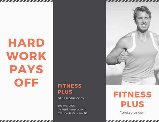 Grayscale and Coral Fitness Gym Trifold Brochure - Templates by Canva
