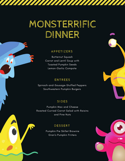 Cute Colorful Monsters Halloween Party Dinner Menu - Templates by Canva