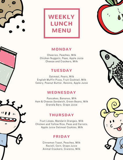 Cream and Pink Kids Doodle School Menu - Templates by Canva