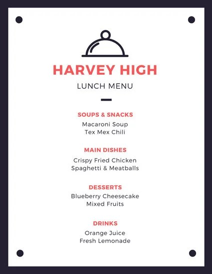 Blue and Red Formal School Lunch Menu - Templates by Canva