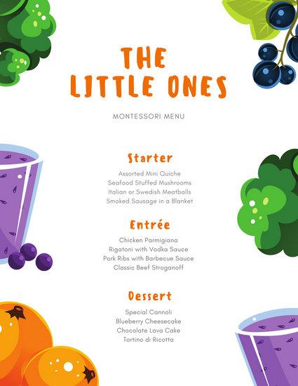 Colorful Cartoon Healthy Food Kids Menu - Templates by Canva