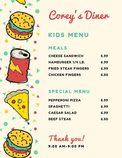 Burger Soda Pizza Kid\u0027s Menu - Templates by Canva - kids menu templates