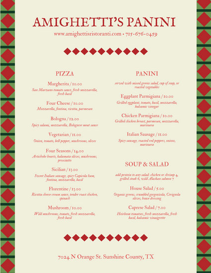 Red Green Diamond Italian Menu - Templates by Canva - italian menu