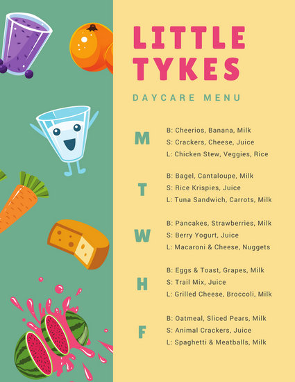Green and Yellow Illustrated Food Daycare Menu - Templates by Canva