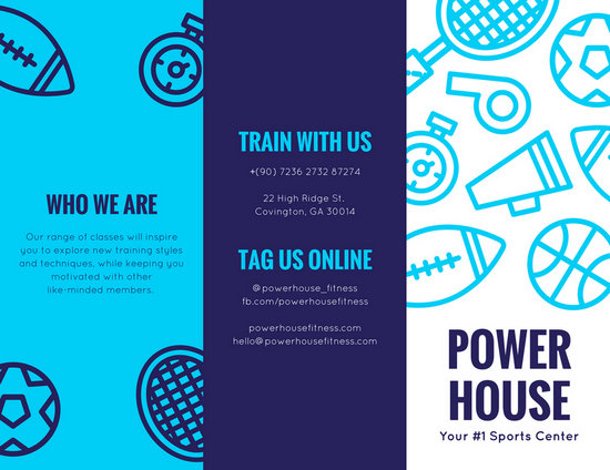 Blue Dark Violet Illustrated Icons Fitness Brochure - Templates by Canva - Fitness Brochure
