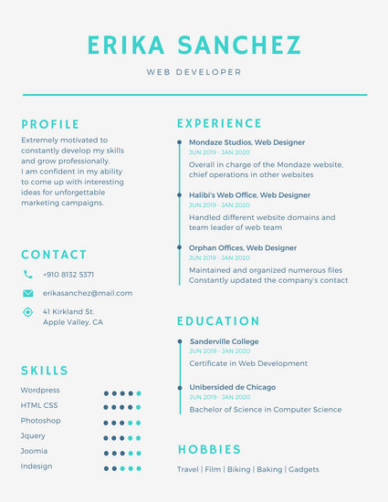 Blue Minimal Infographic Resume - Templates by Canva - infographic resume templates
