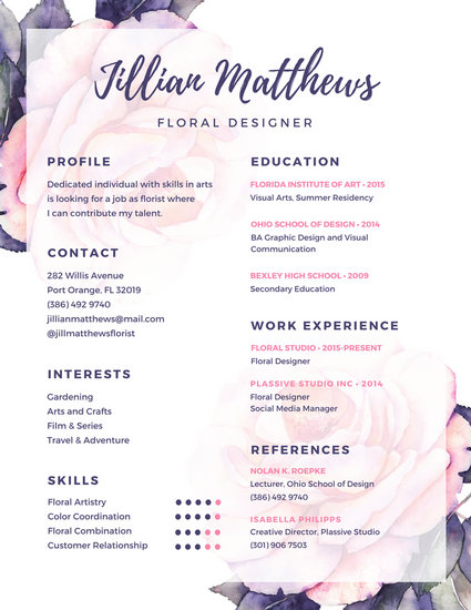 Purple Floral Creative Resume - Templates by Canva