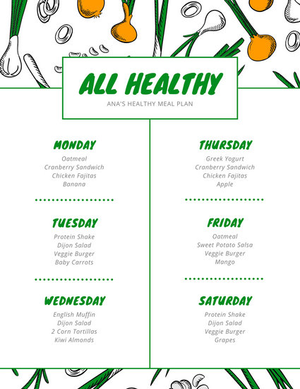 Customize 343+ Meal Planner Menu templates online - Canva - weekly healthy meal plan