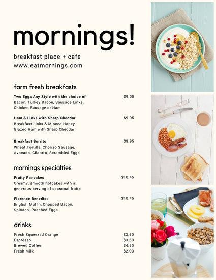 Modern Breakfast Collage Menu - Templates by Canva - sample breakfast menu template