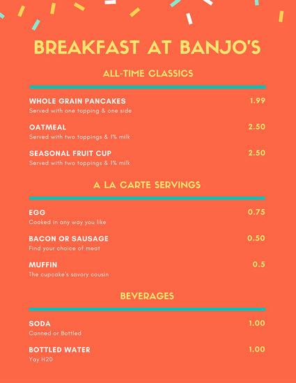 Orange Confetti Simple Breakfast Menu - Templates by Canva - a la carte menu template
