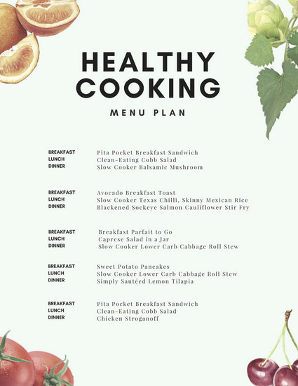 Healthy Cooking Meal Planner Menu - Templates by Canva - breakfast lunch and dinner meal plan for a week