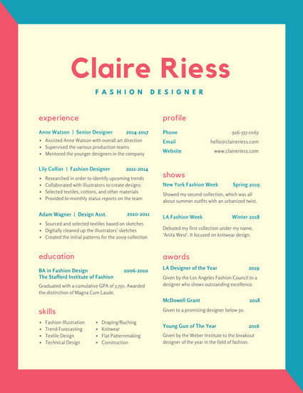 customize 100 colorful resume templates online