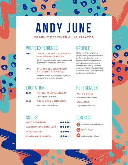 Colorful Brush Strokes Creative Resume - Templates by Canva