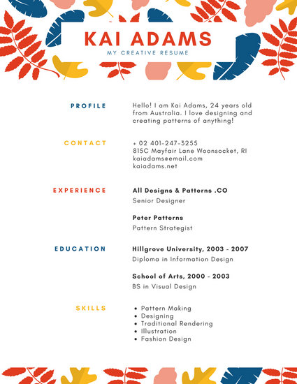 Illustrated Leaves Pattern Colorful Resume - Templates by Canva - Visual Designer Resume
