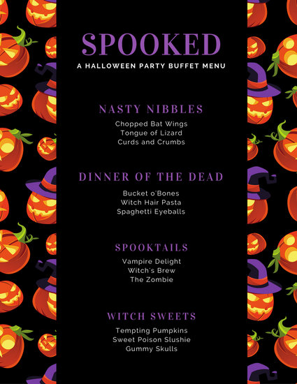 Spooky Jack-o-Lanterns Black and Purple Halloween Menu - Templates