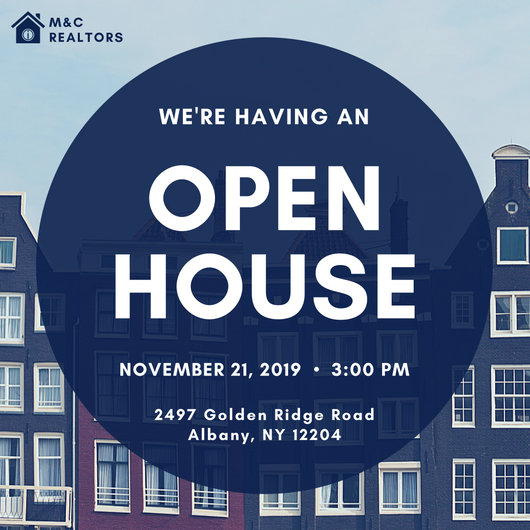 Blue Orange Grid Open House Invitation - Templates by Canva