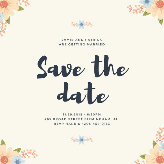 Floral Corners Save the Date Invitation - Templates by Canva
