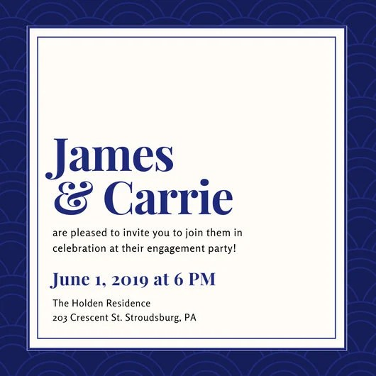 Blue Classy Engagement Party Invitation - Templates by Canva