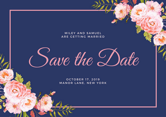 Cute Wallpapers With Nice Quotes Navy Blue Floral Save The Date Postcard Templates By Canva