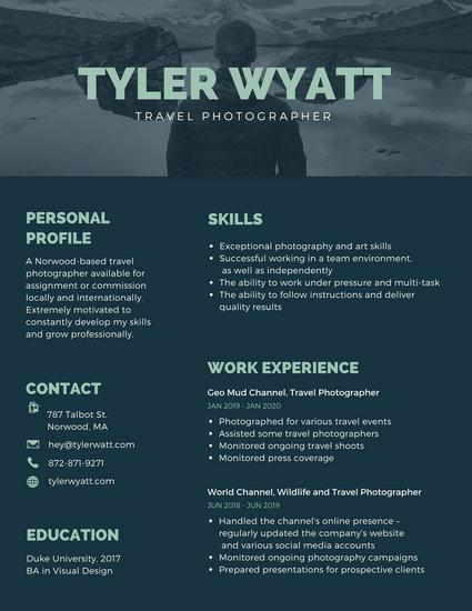resume templates artistic