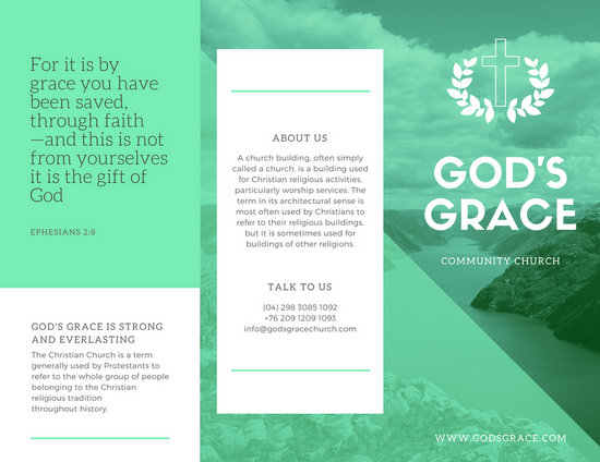 White and Neon Green Church Trifold Brochure - Templates by Canva
