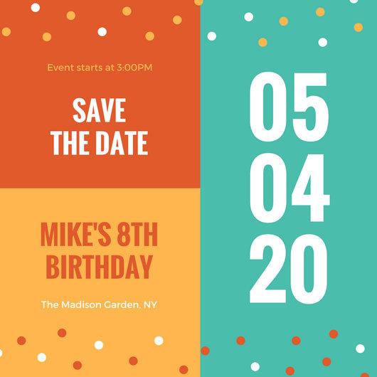 Colorful Cute Birthday Save The Date Invitation - Templates by Canva