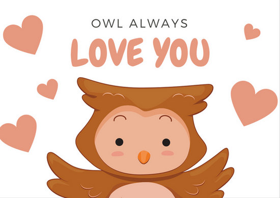 Owl Illustration Heart Shapes Love Postcard - Templates by Canva