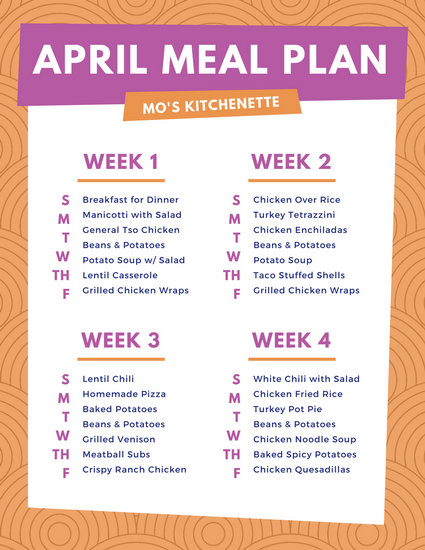Orange Pink Lunch Monthly Food Menu - Templates by Canva