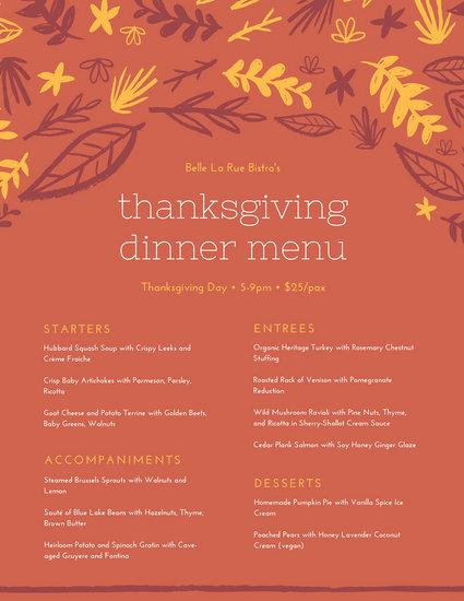 Orange and Yellow Handdrawn Leaves Thanksgiving Dinner Menu