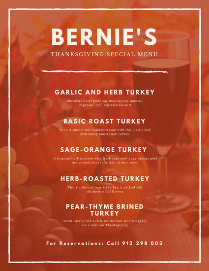 Orange White Pumpkin Wine Thanksgiving Menu - Templates by Canva