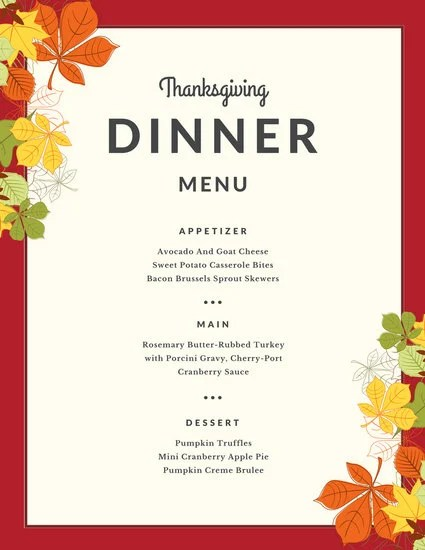 Red Border Autumn Leaves Thanksgiving Menu - Templates by Canva