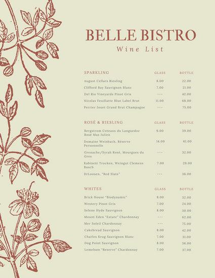 wine list template free word - Bire1andwap