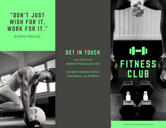 Neon Green with Grayscale Photos Fitness Trifold Brochure