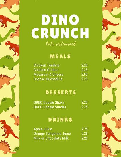 Green Beige Dinosaur Kids Menu - Templates by Canva - kids menu templates