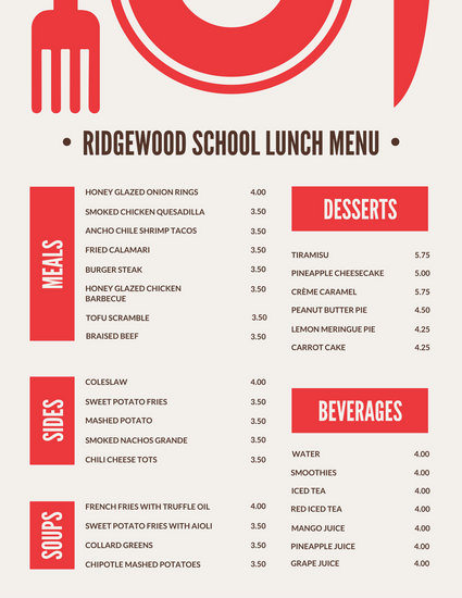 Red Blocks with Icon School Lunch Menu - Templates by Canva
