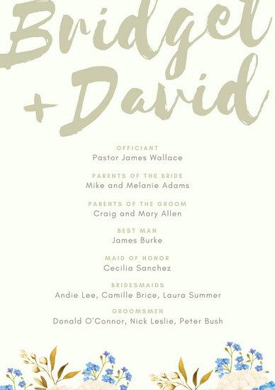 Bold Watercolor Script Floral Wedding Program - Templates by Canva