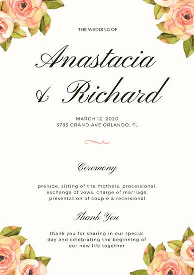 Customize 66+ Wedding Program templates online - Canva