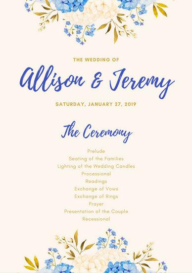 Navy Blue Gold Flowers Wedding Ceremony Program - Templates by Canva