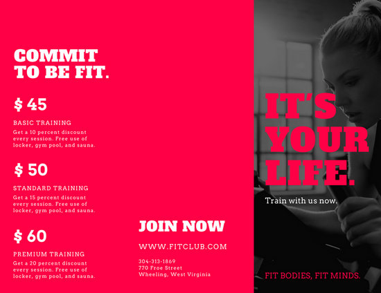 Pink Black and White Gym Photos Fitness Brochure - Templates by Canva - Fitness Brochure