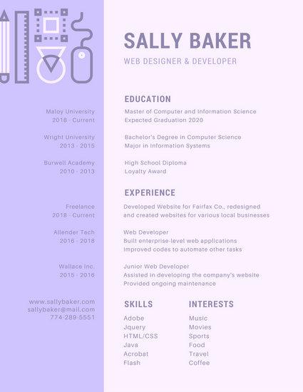 Purple Modern Creative Resume - Templates by Canva
